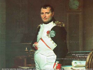 Napoleon Bonaparte shown with his hand inside his clothing